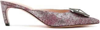 Nicholas Kirkwood Eden Appliqued Crystal-embellished Metallic Slub-woven Mules