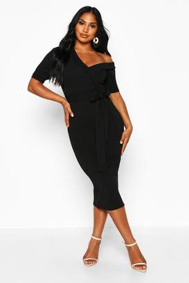 boohoo One Shoulder Puff Sleeve Wrap Midi Dress