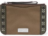 Marc by Marc Jacobs Roxy Embellished Leather-Trimmed Canvas Pouch