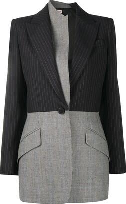Alexander McQueen Two-Tone Pinstripe Coat