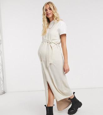 Mama Licious Mamalicious Maternity knitted midi cardigan dress in beige