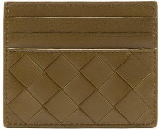 Bottega Veneta Intrecciato Leather Card Holder - Womens - Khaki