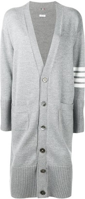 Thom Browne Striped Sleeve Long Cardigan