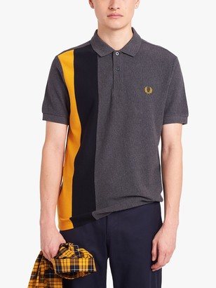 Fred Perry Side Panel Stripe Polo Shirt, Grey/Yellow