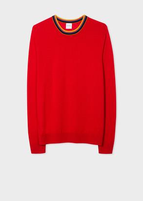 Paul Smith Men's Red Merino Wool Sweater With 'Artist Stripe' Collar