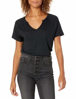 Goodthreads Amazon Brand Women's Linen Modal Jersey Short-Sleeve Slit-Neck T-Shirt