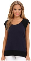 Aryn K Mix Media Black Drape Top