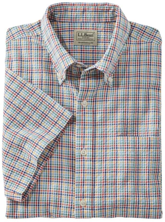 L.L. Bean L.L.Bean Men's Seersucker Shirt, Traditional Fit Short-Sleeve Tattersall