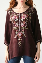 Johnny Was Merlot Embroidered Blouse