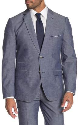 Paisley & Gray Dover Blue Chambray Two Button Notch Lapel Slim Fit Suit Separates Jacket