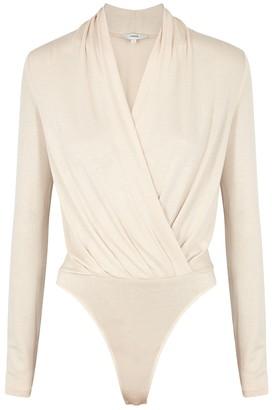 Vince Cream Wrap-effect Stretch-jersey Bodysuit