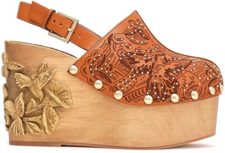 Red(V) Red(v) Studded Laser-cut Leather Platform Wedges