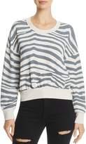 Splendid Zebra Print Cropped Sweatshirt
