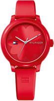 Tommy Hilfiger Women's Red Silicone Strap Watch 38mm