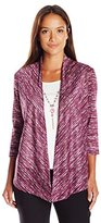 Alfred Dunner Women's Petite Space Dye Two for One Knit Cardi with Tank and Necklace