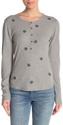 Lucky Brand Floral Embroidered Thermal Shirt