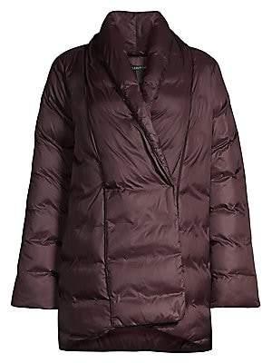 Eileen Fisher Women's High Shawl Collar Recycled Nylon Puffer Coat