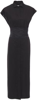 MM6 MAISON MARGIELA Belted Pintucked Cotton-poplin Midi Shirt Dress