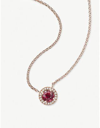 Vashi Halo 18k rose-gold, 0.70ct ruby and diamond pendant necklace