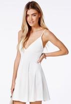 Missguided Herta White Strappy Skater Dress