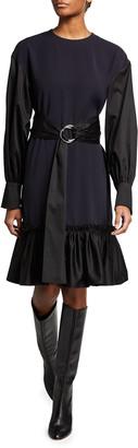 ADEAM Poppy Belted Long-Sleeve Dress