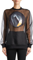 Givenchy Swan-Patch Organza Sweatshirt, Black