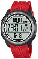 Calypso Unisex Digital Watch with LCD Dial Digital Display and Red Plastic Strap K5704/4
