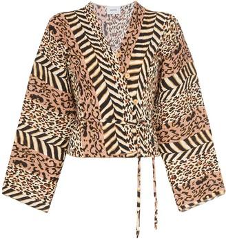 Nanushka Ehara animal-print blouse