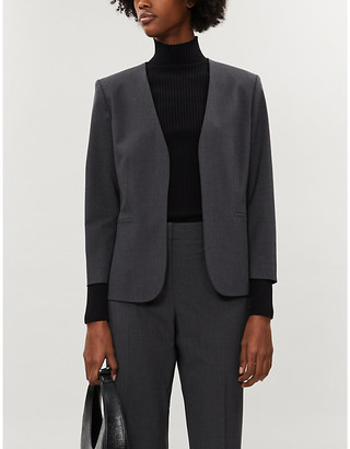 Theory Womens Black Lindrayia Cropped Stretch-Wool Jacket