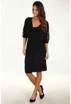 Suzi Chin for Maggy Boutique - 3/4 Lace Sleeve Dolman Dress (Black) - Apparel