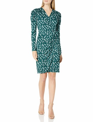Lark & Ro Amazon Brand Women's Long Balloon Sleeve Wrap Dress
