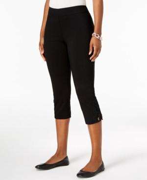 JM Collection Crochet-Lace Applique Capri Pants, Created for Macy's