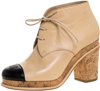 Chanel Beige/Black Leather CC Cap Toe Lace Up Boots Size 37