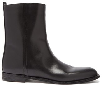 Maison Margiela Zipped Leather Ankle Boots - Black