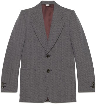Gucci G hexagon grisaille wool jacket