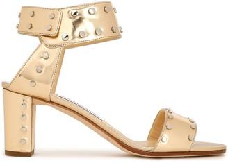 Jimmy Choo Veto Studded Mirrored Metallic Leather Sandals