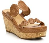 Jack Rogers Leigh Metallic Leather Cork Wedge Sandals