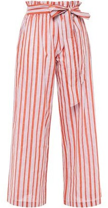 Vanessa Bruno Iyad Belted Striped Cotton And Lurex-blend Wide-leg Pants