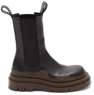 Bottega Veneta Tire Chunky-sole Leather Chelsea Boots - Black Brown
