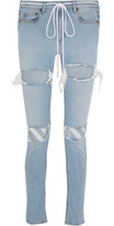 Off-White Embroidered Distressed Mid-rise Skinny Jeans - Light denim