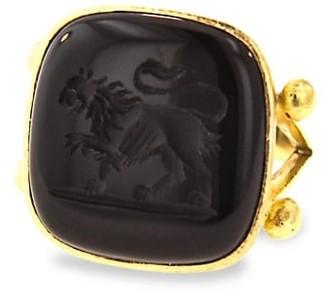 Elizabeth Locke Stone Intaglio 19K Yellow Gold & Onyx Lion Large Cushion Ring