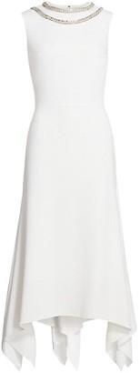 Reem Acra Embellished Asymmetric Sleeveless Cocktail Dress
