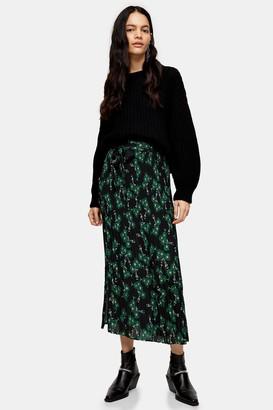 Topshop Womens Multi Floral Print Tie Pleated Midi Skirt - Multi