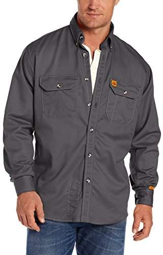 Wrangler Men's Fire-Resistant Work Shirt with Two Front Pockets