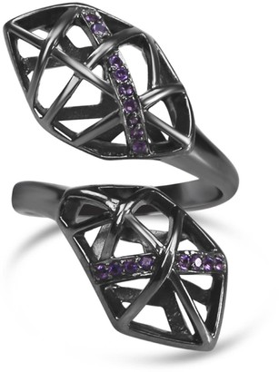 Bellus Domina Rhodium Plated Amethyst Helical Ring
