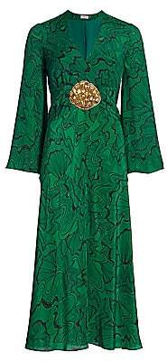 Rixo Women's Indra Shell-Print Silk Midi Dress