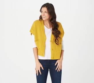 Isaac Mizrahi Live! Button Front Cropped Cardigan with Textured Stitch