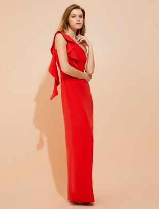 Halston Asymmetric Flounce Crepe Gown