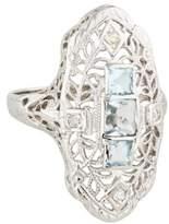 Ring 14K Vintage Aquamarine & Diamond