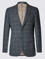 M&S Collection Single Breasted 2 Button Checked Jacket